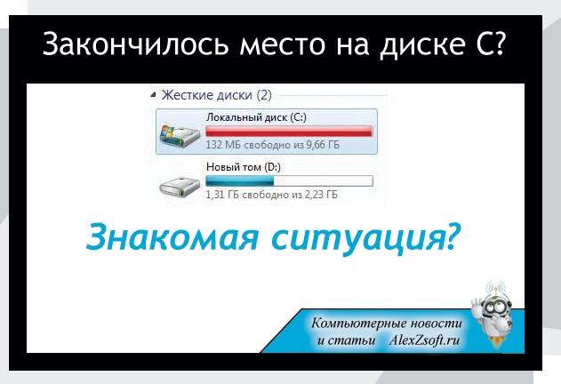 Как на диске С освободить место в Windows 7, 8, 10