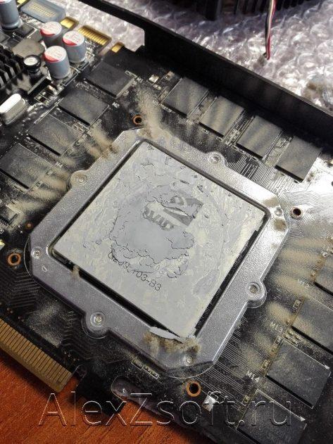 Процессор с засохшей термопастой на видеокарте