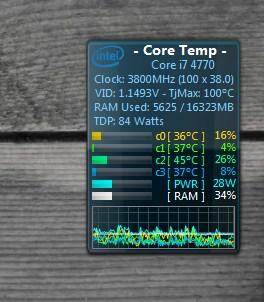 Виджет температуры процессора