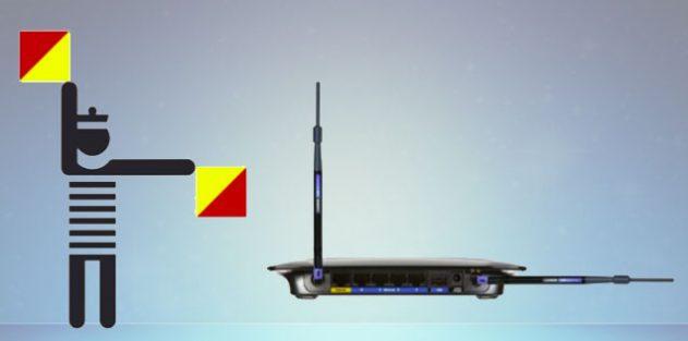 положение антенны роутера