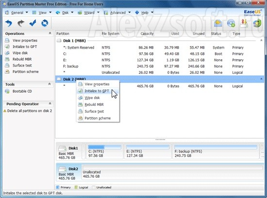 EaseUS Partition mbr to gpt