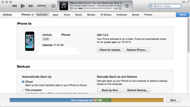 iTunes iphone 5s